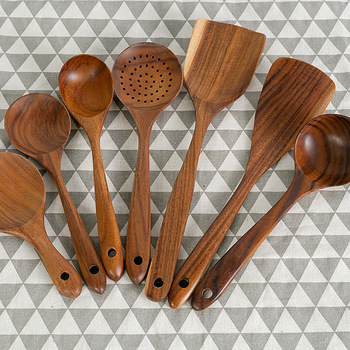 Natural Wood Tableware Bamboo Utensils Tool Spoon Ladle Turner Long Rice Colander Soup Skimmer Cooking Spoons Scoop Kitchen Set 3