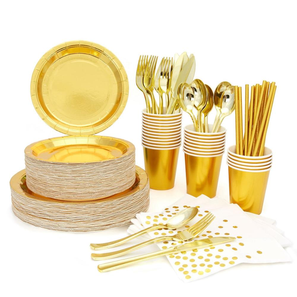 High Quality Hot Stamping Gold Disposable Tableware Gold Plate/Napkin/Cup Adult Happy Birthday Party Decor Kids Wedding Supplies