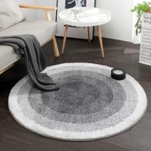Скандинавская серая серия современные круглые ковры Толстая компьютерная Подушка для стула круглый коврик гостиная ковер детская спальня диван коврик пол коврики
