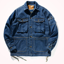 Windbreaker Jacket Cargo Multi-Pocket Men's Winter Fashion Thick Drawstring Autum Retro