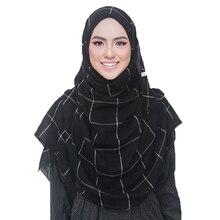 Cổ Điển Plaids Tartan Cotton Voan Hồi Giáo Hijab Khăn Choàng Nữ Đeo Chéo Dài Sọc Màu Đôi Hồi Giáo Hijabs Khăn Choàng Quấn Khăn