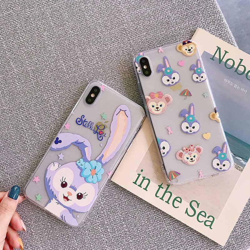 Hoạt Hình Dễ Thương Hoa Tai Dáng Dài Thỏ Ốp Điện Thoại Cho Iphone 11Pro Max 6 6 S 7 8 Plus X XS max XR Chất Lượng Cao Trong Suốt Mềm Bao Fundas