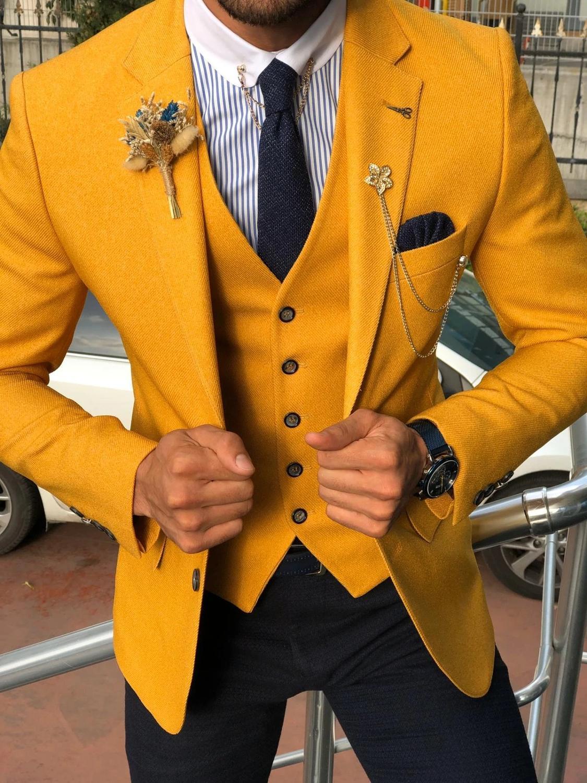Custom Made Men's Suit 2020 Vintage Polyester Formal Best Man Suits Groom Wear Tweed Tuxedos 3 Pieces Suits (Jacket+Pants+vest)