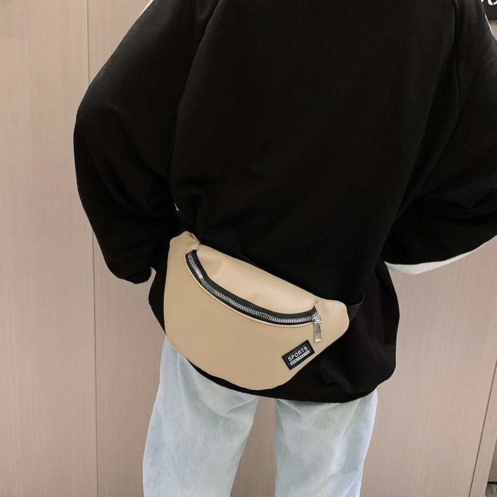 Fashion Solid Casual Women Waist Bag PU Leather Black Fanny Pack