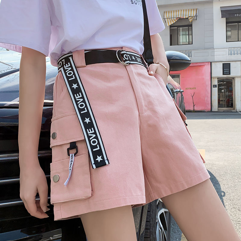 Plus Size Women Cargo Shorts With Belt Female Summer High Waist Pocketed Streetwear Shorts Ladies Casual Loose Jogging Shorts