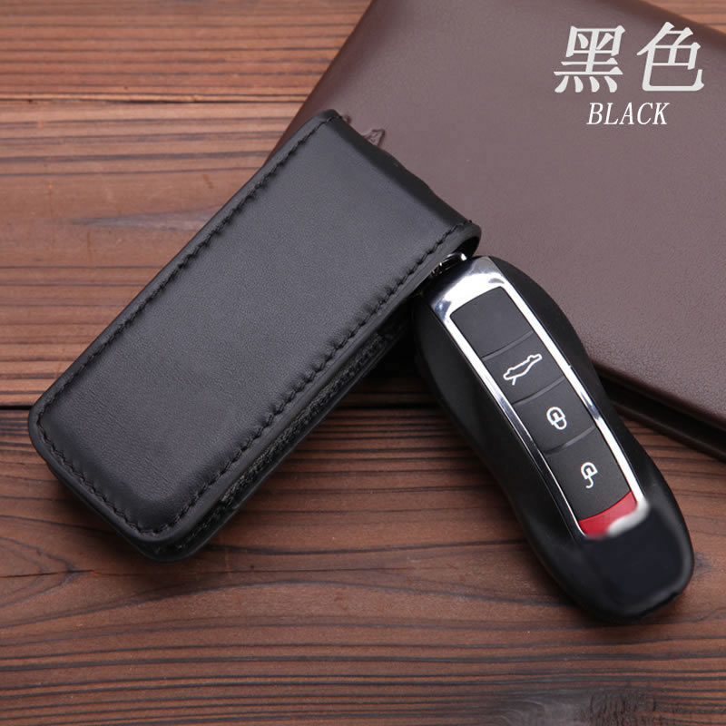 Genuine Leather Key Cover Fit For Porsche Cayenne Macan Panameras Cayman 911 8