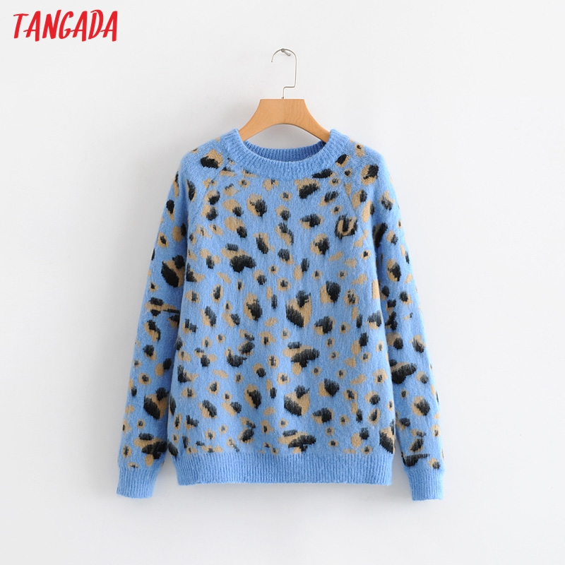 Tangada Autumn Winter Fashion Women Blue Leopard Sweater O-neck Loose Long Sleeve Korean Style Jumper Ladies Pull 5W01