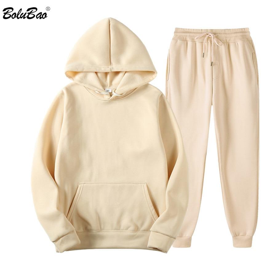 BOLUBAO marka mężczyźni Solid Color zestawy na co dzień jesień nowe męskie bluzy + spodnie dwuczęściowy dres modny zestaw odzieży sportowej mężczyzna