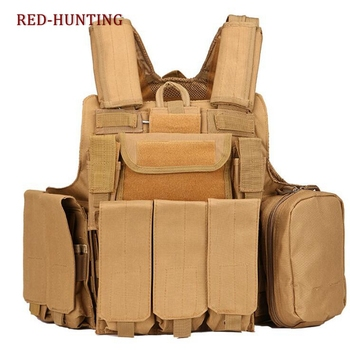 8 PCS Multi-pocket Outdoor Training Vest CS Equipment Military Combat Vest With Molle System Shooting Hunting Waistcoat