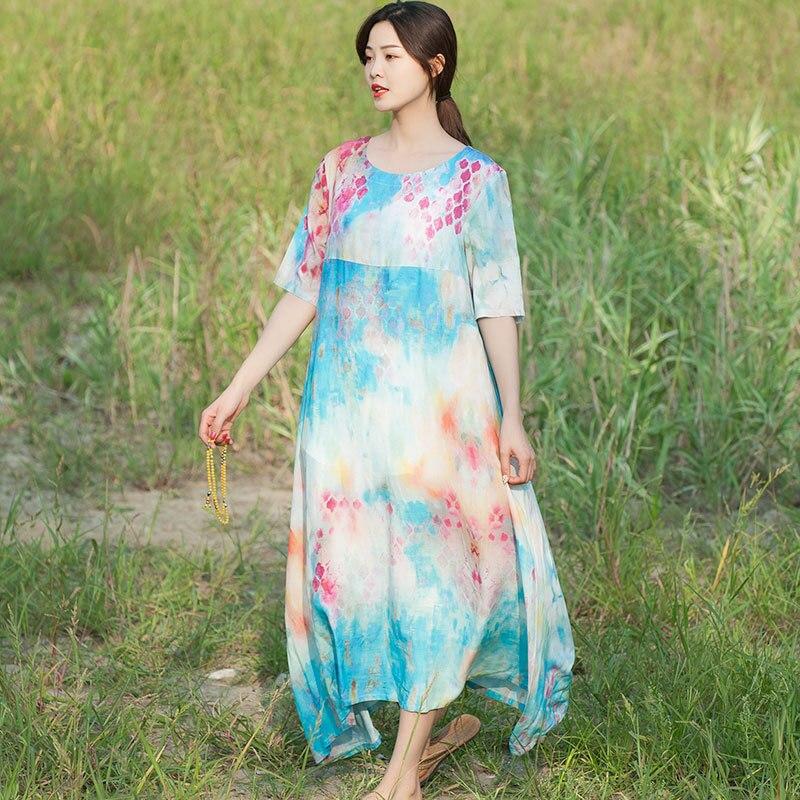 Été vacances plage jupe zhi pai coton lin Floral imprimé robe lâche décontracté demi-manches chemise style coréen taille haute Bi