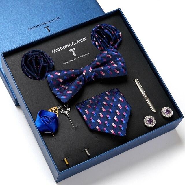 Gentlemen's Luxury Set - Bowtie Tie, Tie, Clips Lapel Pin, Hanky & Cufflink 3