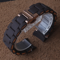 Curved ends Watchband strap new Rubber watchband Steel in Brown Silicone for man 23mm woman 20mm watch strap wristwatches band