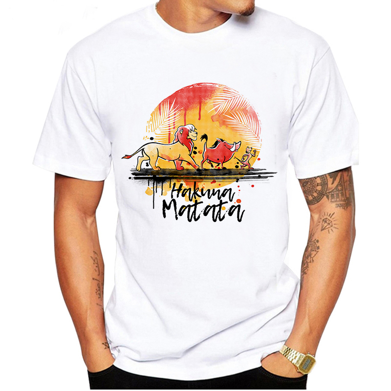 LUSLOS Men T Shirts Tops Classic Movie Lion King Tshirt Oversized T-shirts Harajuku Shirts Casual White Streetwear Men Clothes