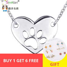 StrollGirl Dog Paw necklace Cute 925 sterling silver heart pendant necklace fashion Women Jewelry Birthday Gift Free shipping cute dog heart pendant necklace for women