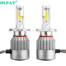 цены OLPAY 1pairs Auto Car H8 H3 H11 H7 H4 H1 LED Headlights 6000K Cool white 72W 7600LM COB Bulbs Diodes Automobiles Parts Lamp
