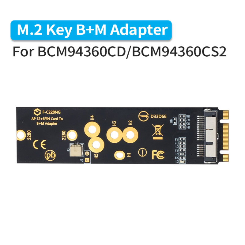 Wireless BCM94360CD BCM94360CS2 BCM943224PCIEBT2 12+6 Pin Bluetooth WiFi Card Module to M.2 NGFF Key B+M Adapter for Mac OS(China)