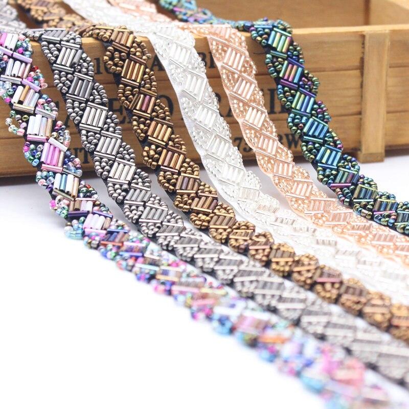 14mm/breite Perlen Handgemachte Spitze Rand Borte Hochzeit Kleid Gürtel Schärpe Band Braut Applique Stoff Nähen Handwerk DIY dekorative Band