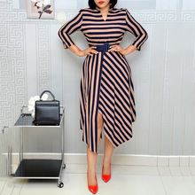 Office Lady Plus Size Dress Winter Autumn Fashion Simple Thin Designer Elegant Best Sellers Stripes Cross Split V-neck Belt