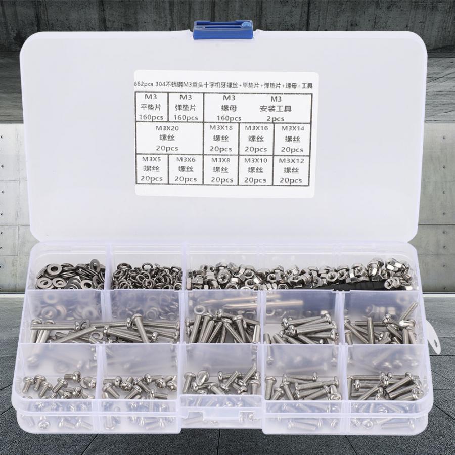 662 unids/set tornillos de acero inoxidable M3 Pan máquina de tornillo + plana/elástico lavadora + tuerca de hardware partes tornillos cabeza
