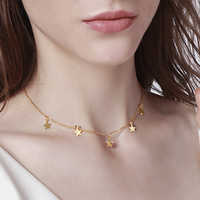 Vnox tempérament etoiles ras du cou ton or acier inoxydable colliers pour femmes bijoux candide