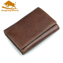 New vintage men wallet genuine leather short design Multi-fu