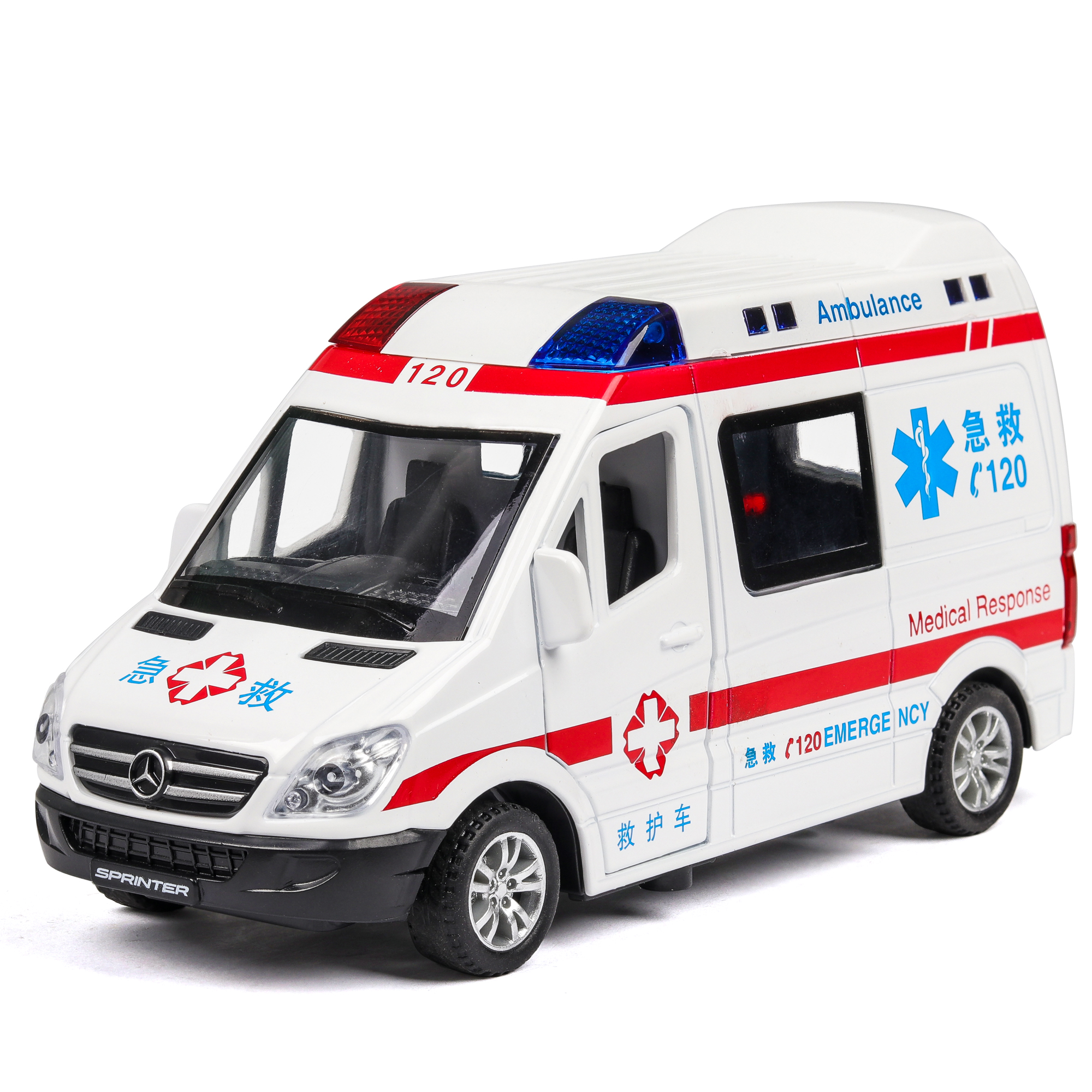 Diecast 1:32 Hospital Rescue Ambulance Police DHL Metal Car Model Pull Back Sound And Light Alloy Car Toys Thomas Tayo Bus