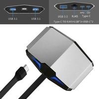 Tüketici Elektroniği'ten C Tipi Adaptör'de USB3.1 Usb Hub tipi C HDMI USB3.0 RJ45 macbook adaptörü Samsung Dex S8/S9 Huawei P20 Pro usb c adaptörü Thunderbolt 3 Dock