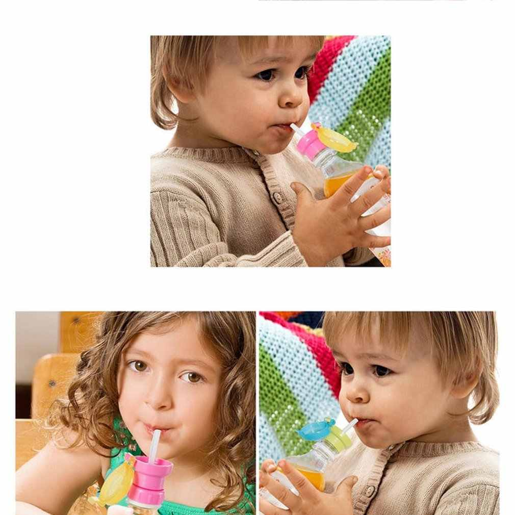 หมวกของ Anti-Overflow ฟางแบบพกพาเครื่องดื่มบรรจุขวดสำหรับเด็กกระติกน้ำร้อนรั่วซึมยืดหยุ่นดูดฝาครอบถ้วย
