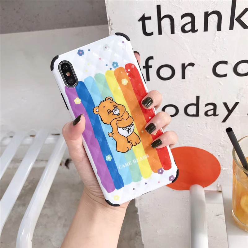 Korean phone case cartoon rainbow bear cases for iphone brand cute care bears lattice grid anti knock cover for apple iphone xs in Fitted Cases from Cellphones Telecommunications