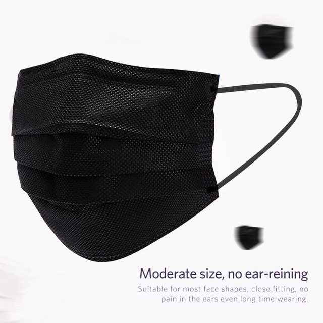 10/20/50/100/200Pcs Black Disposable Masks Mouth Cover Mask Cotton Non Woven 3 Layer Non Woven Face Cover Mask 1