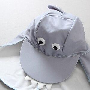 Image 3 - Erkek bebek mayo UV koruma 3 adet çocuk mayo sevimli köpekbalığı uzun kollu mayo Boys yürüyor mayo