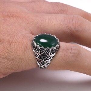 Image 4 - מובטח 925 סטרלינג כסף שחור טבעות רטרו בציר פרחים תורכי טבעת תכשיטי עבור גברים עם אבן טורקיה תכשיטים
