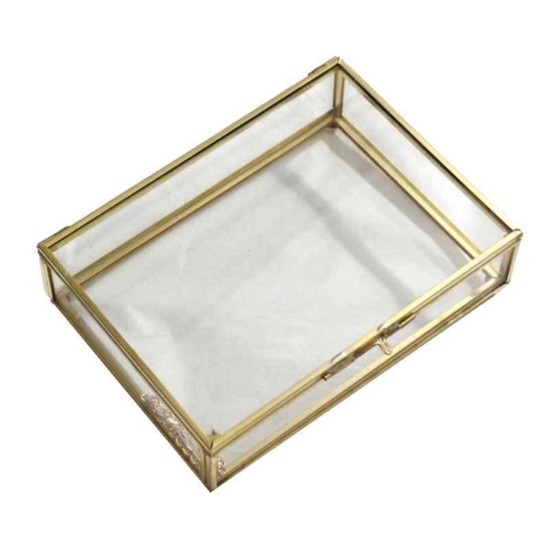 NOVO-Geométrica Estilo Recipiente de Mesa Caixa de Jóias Para A Exibição de Jóias de Vidro Lembranças Decoração Plantas Recipiente Ewelry S