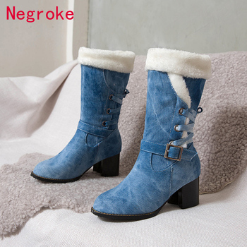 mid calf boots 6cm high heels women shoes knee high block heel boots crystal black white red fashion ladies boots plus size 43 Top Quality Women Snow Boots Warm Thick Fur Winter Boots Shoes Plus Size 6CM Heels Ladies Mid-calf Shoes Comfort Botas Mujer