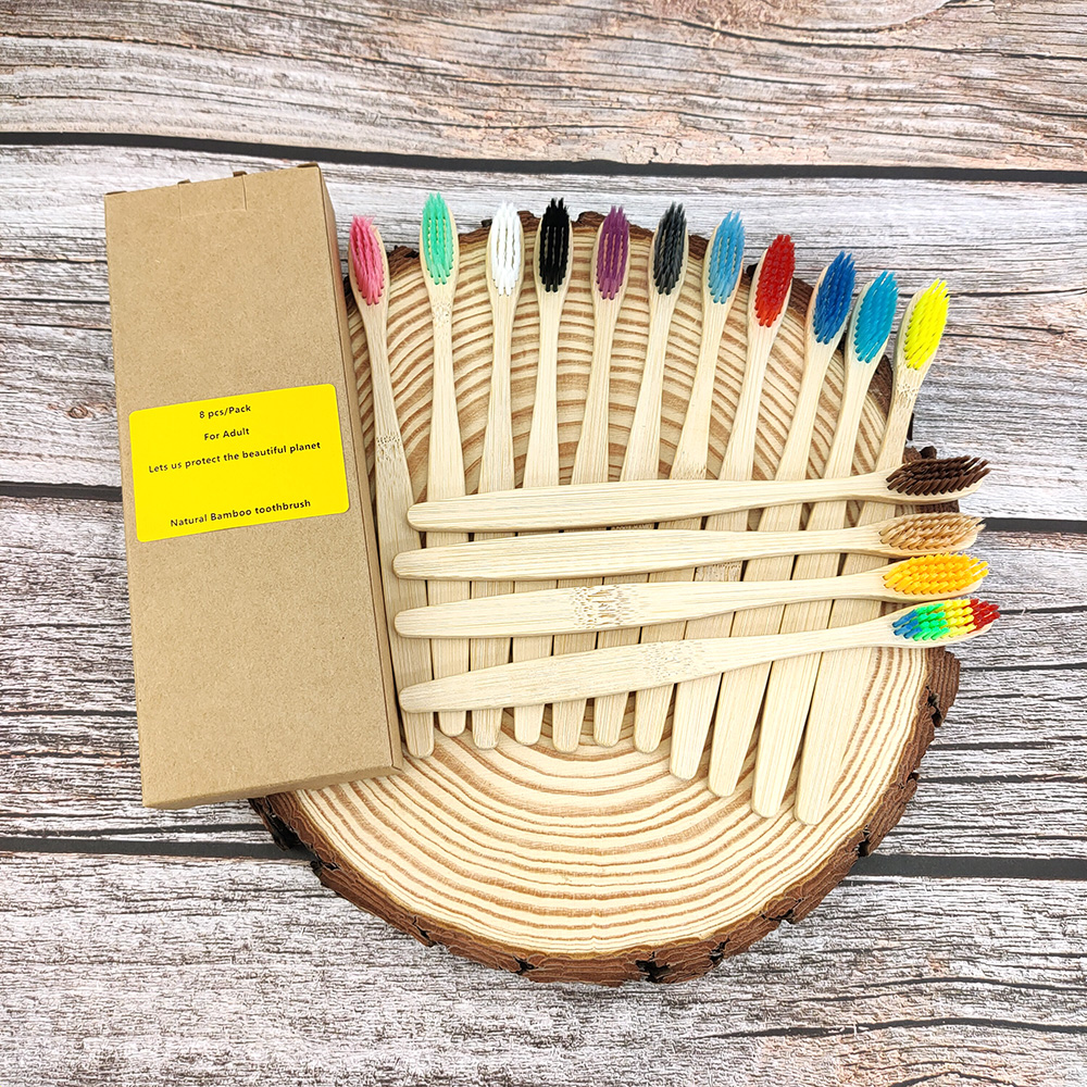 12 Pack Toothbrush Eco Friendly Bamboo Soft Fibre Toothbrush Teeth Brush Solid Bamboo Handle  100%Biodegradable