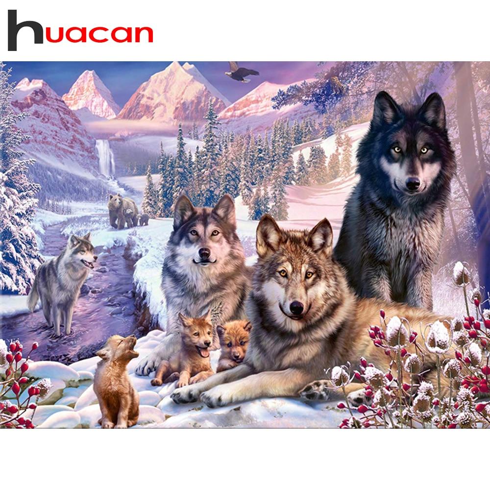 Huacan 5D diy のダイヤモンド絵画動物フル平方/ラウンドダイヤモンド刺繍ウルフ家の装飾のギフトキット