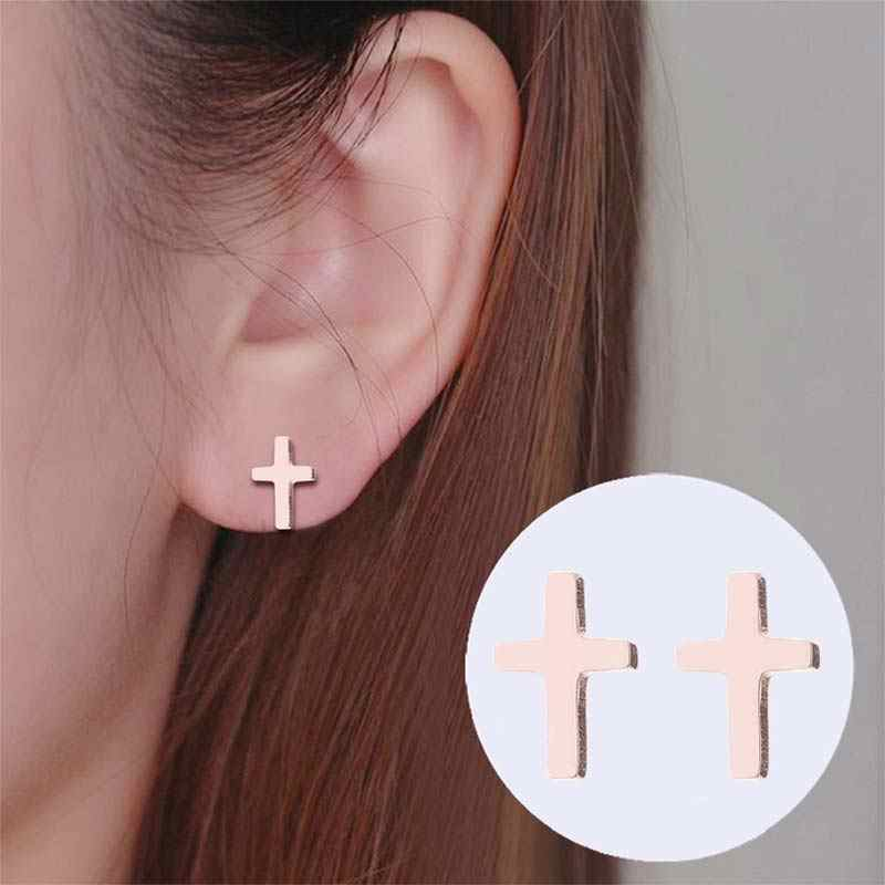 1 Pasang Sumbu Korea Anting-Anting Salib Stainless Steel Anting-Anting Cross Stud Anting-Anting Wanita Pesta Perhiasan Stud Sederhana Anting Kecil Anting-Anting