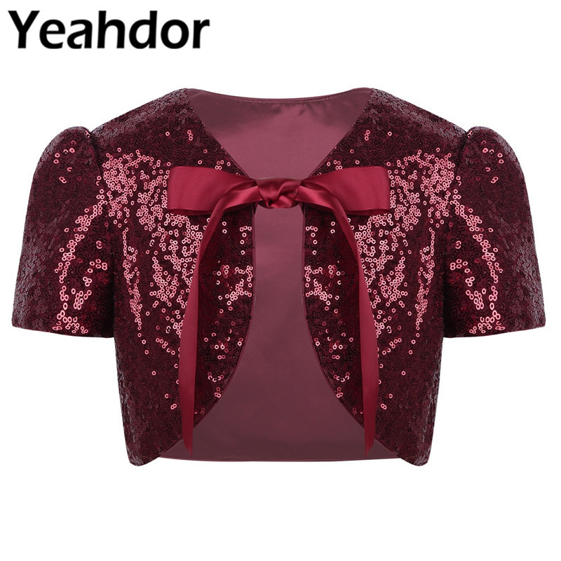 Kids Girls Cropped Bolero Cardigan Top Satin Shiny Sequined Short Sleeve Short Jacket Shrug Girls Princess Dress Cover Up Wrap