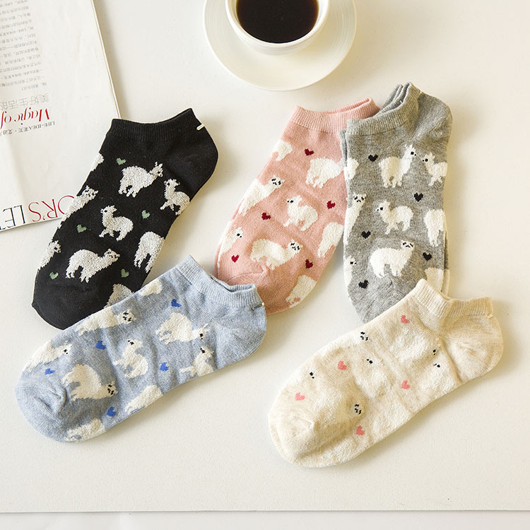 1Lot=5Pairs Adult Women Cotton Ankle Short Alpaca Socks Vicugna Pacos Alpacas Lama Alpacos Animal Grass Mud Horse Dropshipping