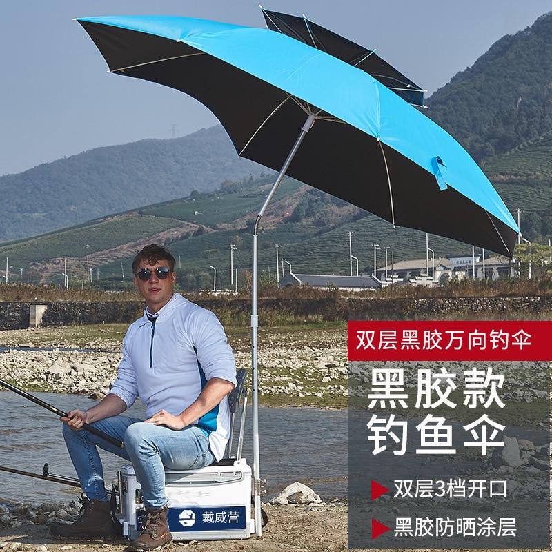 2m/2.2m/2.4m Black Rubber Cloth Outdoor Adjustable Ultraviolet-proof Sun Umbrella Large Fishing Awning Foldable Rainproof Tarp