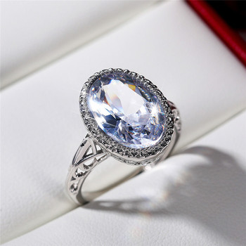 Huitan Luxury Oval Crystal Stone Rings for Women Fashion Wedding Engagement Accessories Female Eternity Ring Statement Jewelry 1