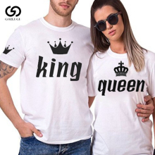 King Queen Lovers Tee T Shirt Imperial Crown Printing Couple Clothes lovers Femme