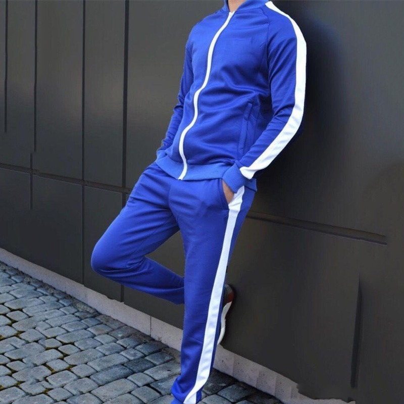 Red Male Solid 2 Pieces Sets Tracksuit Men Brand Side Stripe Casual Winter Sport Hooded Sweatshirt + Drawstring Jogging Pants