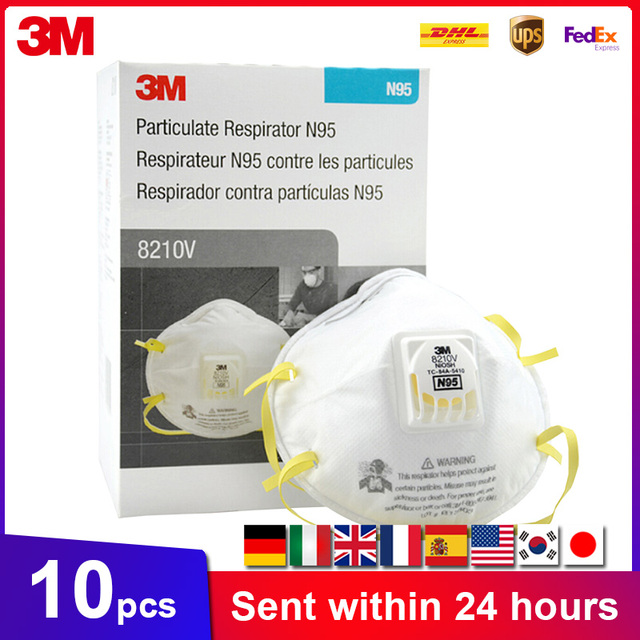 3M 8210 8210V 8210VCN KN95 Protective Masks Anti PM2.5 Structure Industrial Fog Enviroment KN95 N95 Mask With Valve