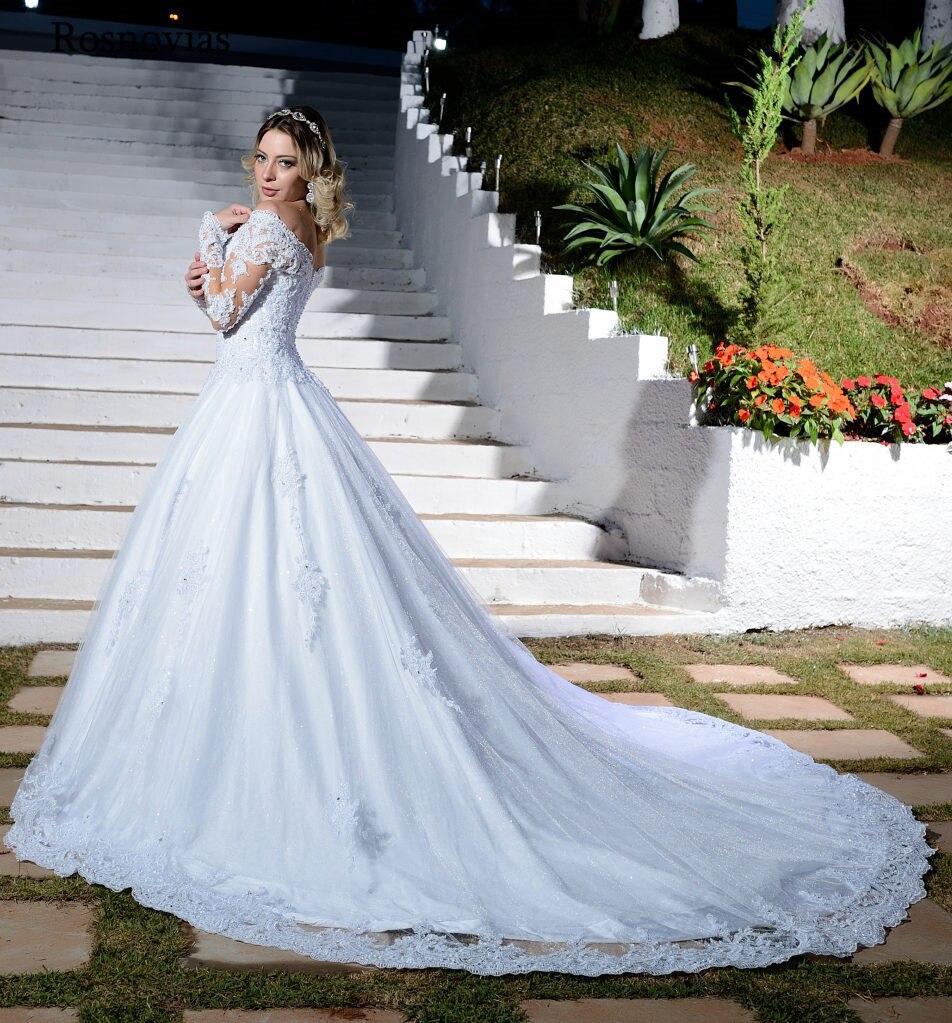Vintage Long Sleeves Wedding Dresses 2020 Sweetheart Off Shoulder Appliques Sweep Train A line Bridal Gowns Vestido de Noiva