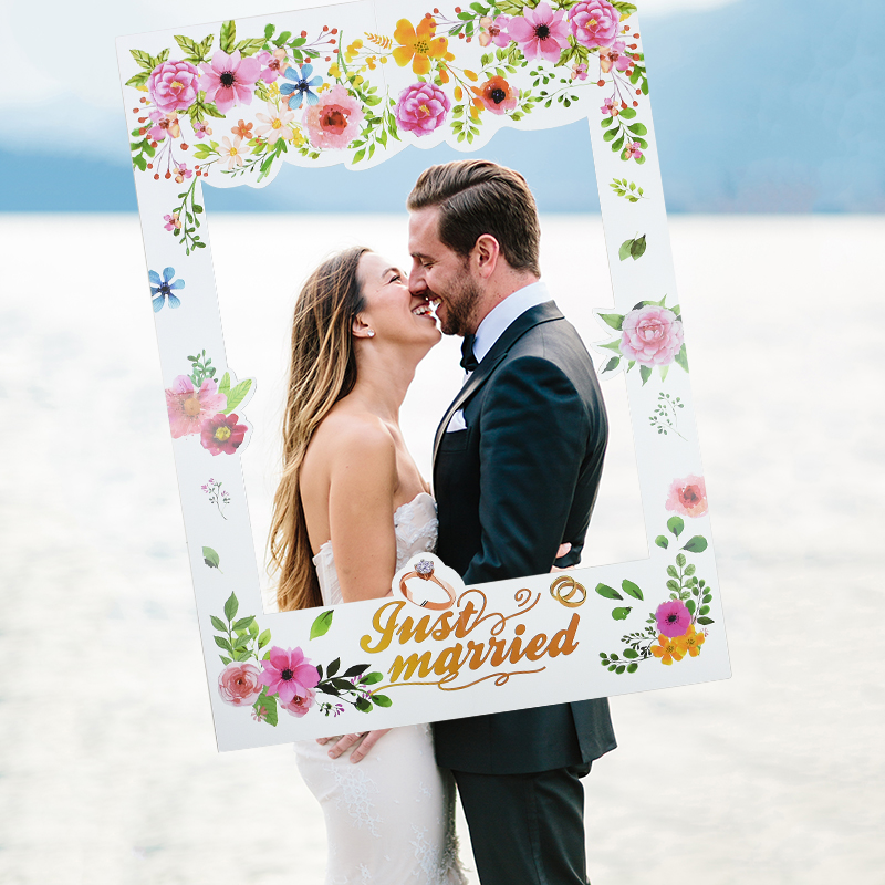 White Wedding Day Photobooth Props Paper Photo Booth Frame Just Married Photography Props Wedding Photo Decor