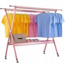 Drying rack floor folding indoor home balcony double pole telescopic clothes pole folding drying rack
