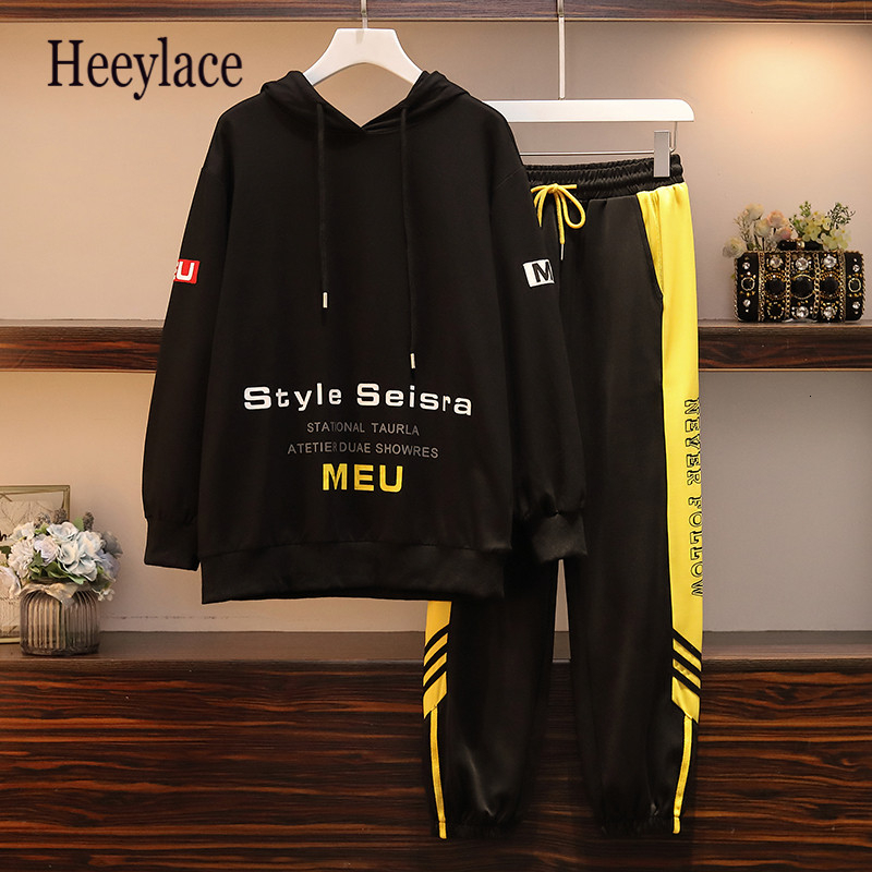 Women's Sports Suit Large Plus Size 5XL Tracksuit Hooded Sweater+pants Two Piece Set Top And Pant Matching Set Fashion Big Set