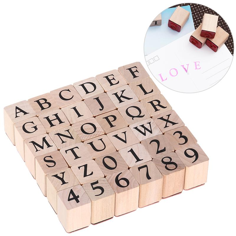 ULTNICE Creative Wooden Rubber Letter Number Stamp Set 26 Capitalized Letters And 10 Numbers