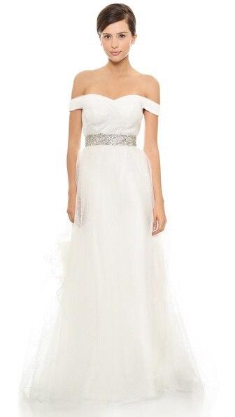 Free Shipping Casamento Robe De Mariage Vestido De Noiva Longo Crystal Romantic Wedding Dress Bride 2019 New Fashion Bridal Gown